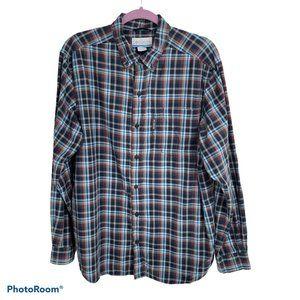 Columbia Blue Plaid Long Sleeve Button Up Shirt L